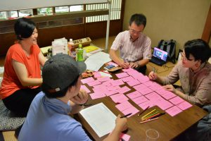 The teams sat down at their tables and wrote down their notes in relation to their kanji.